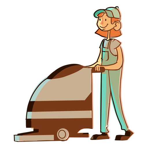 Floor cleaning machine worker illustration Transparent PNG
