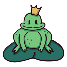 Frog prince colorful icon stroke