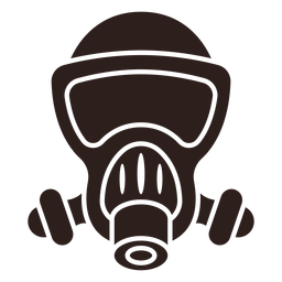Gas mask flat silhouette
