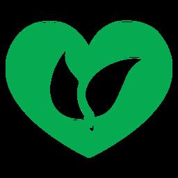 Icono de hojas de corazón verde