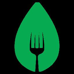 Icono de tenedor de hoja verde