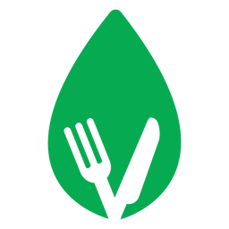 Green leaf fork knife icon