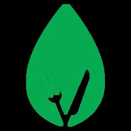 Icono de cuchillo tenedor de hoja verde