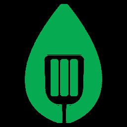 Icono de espátula de hoja verde