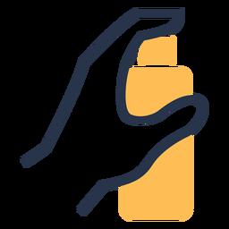 Mão segurando o ícone de spray de higiene