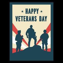 Feliz día de los veteranos soldados plana