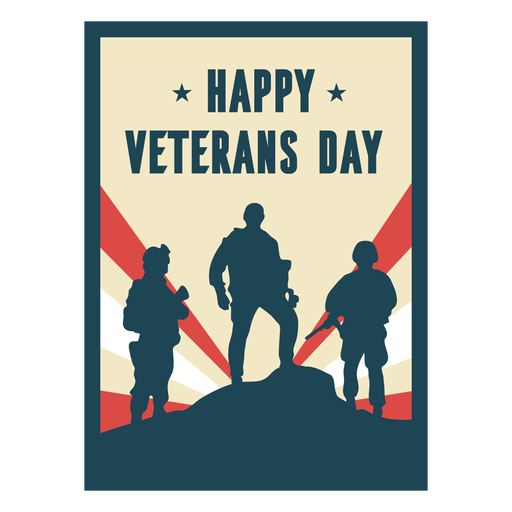 Happy veterans day soldiers flat