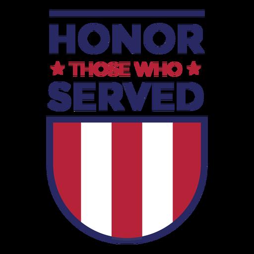 Honra a los que sirvieron insignia