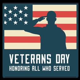 Honrando la bandera de estados unidos del día de los veteranos