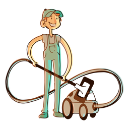 Hoover vacuum cleaner worker illustration