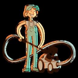 Hoover vacuum cleaner worker illustration