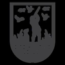 Emblema de pássaros na temporada de caça