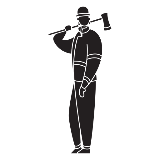 Male first responder fireman flat silhouette Transparent PNG