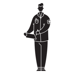 Male first responder medic flat silhouette