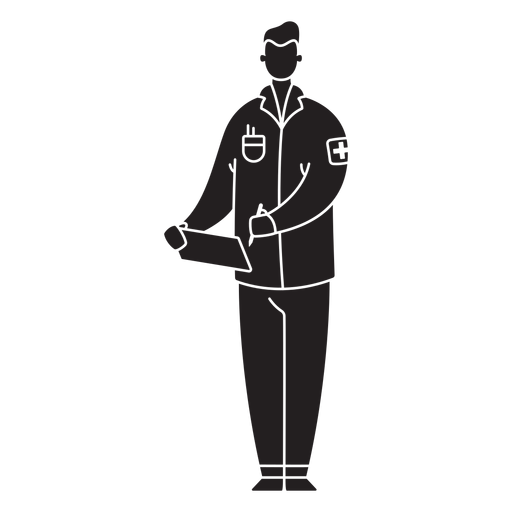 Male first responder medic flat silhouette Transparent PNG