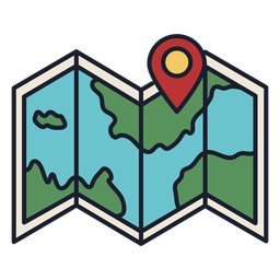 Mapa de ubicación colorido icono trazo