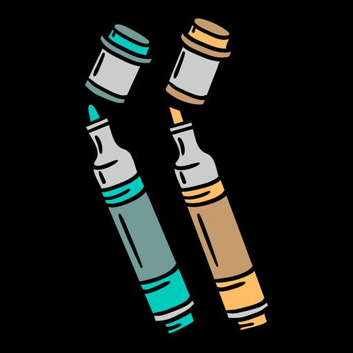 Marker pen colorful illustration Transparent PNG