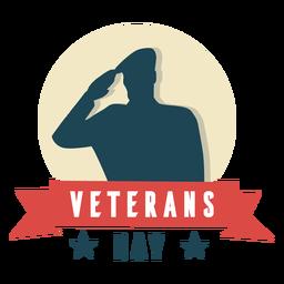 Dia de veteranos de saudação militar plana