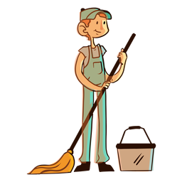 Mop bucket worker illustration