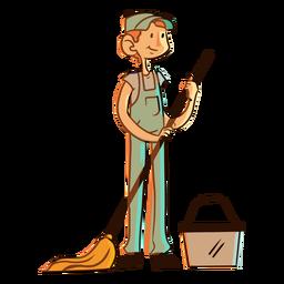 Mop bucket worker illustration