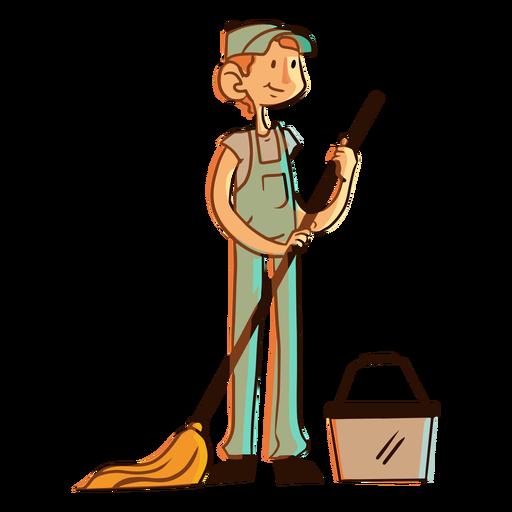 Mop bucket worker illustration Transparent PNG