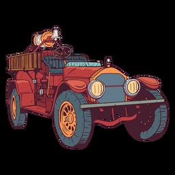 Ilustração colorida de carro de bombeiros velho