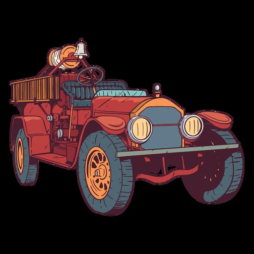 Old fire engine colorful illustration Transparent PNG