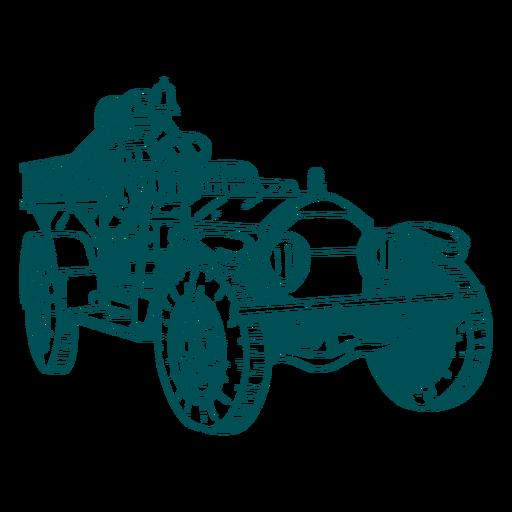 Ilustración de motor de camión de bomberos antiguo