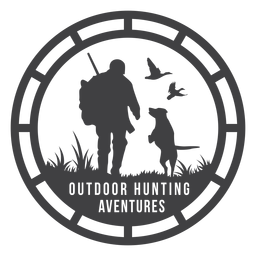 Aventuras de caça ao ar livre emblema redondo