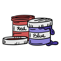 Paint buckets colorful illustration