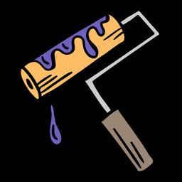 Ilustração colorida de rolo de pintura