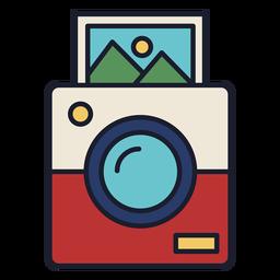 Curso de ícone colorido de câmera Polaroid