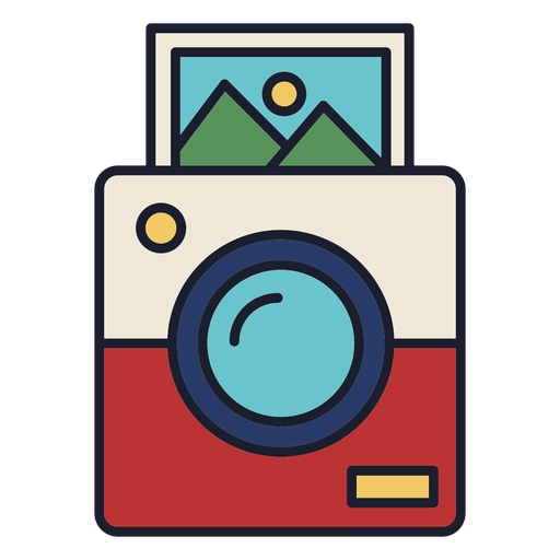 Trazo de colorido icono de cámara Polaroid