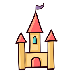 Princess castle colorful icon stroke