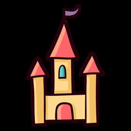 Trazo de icono colorido princesa castillo