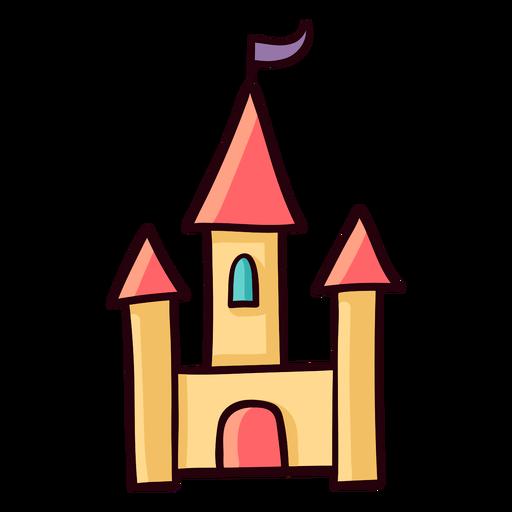 Princesa castillo colorido icono trazo