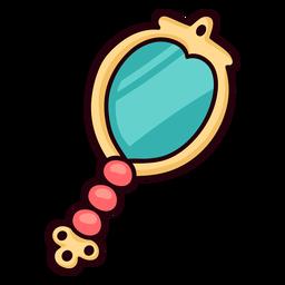 Princesa mano espejo colorido icono trazo