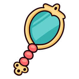 Princess hand mirror colorful icon stroke