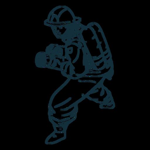 Ready hose firefighter handdrawn Transparent PNG