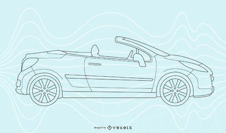 Arte de línea de coche convertible