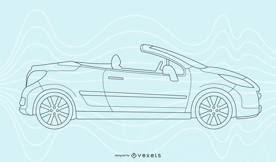 Convertible car line art