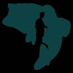 Ilustración de pescado pescador de caña
