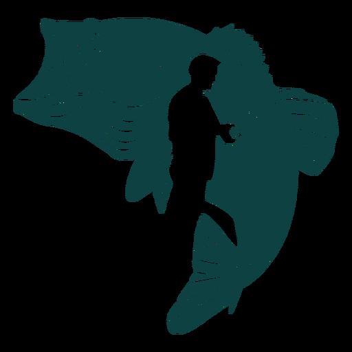 Rod fisherman fish illustration