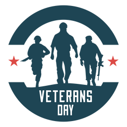Round veterans day flat badge