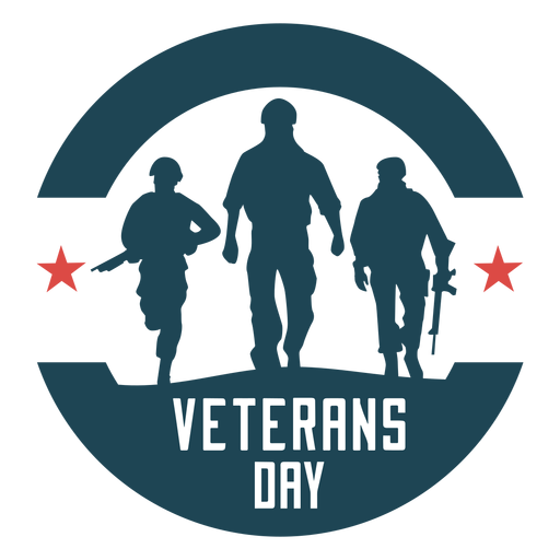 Round veterans day flat badge Transparent PNG