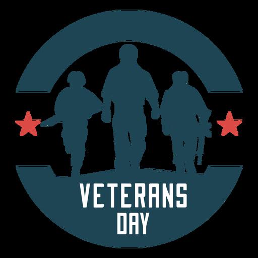 Round veterans day flat badge