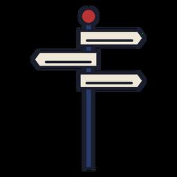Trazo de icono colorido de poste indicador