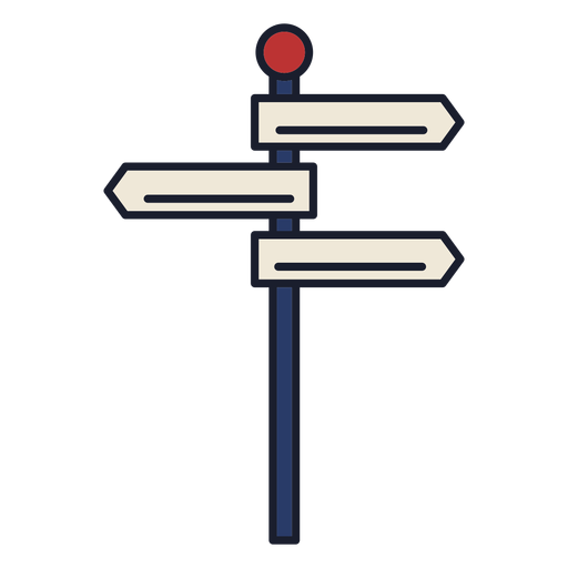 Wegweiser bunter Symbolstrich
