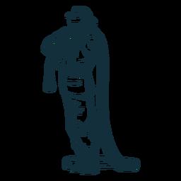Standing firefighter hose illustration