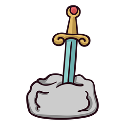 Sword in stone colorful icon stroke